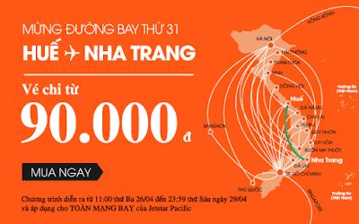 Tiếp tục khuyến mãi của Jetstar mừng đường bay mới Huế - Nha Trang