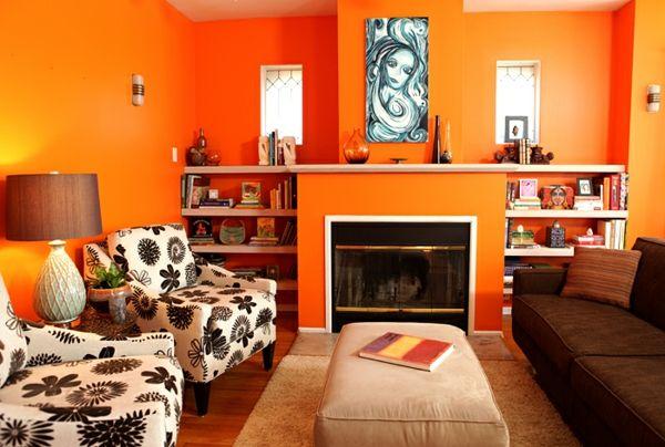 Decoraci n interior de salas en color naranja colores en - Tonos de pinturas para interiores ...