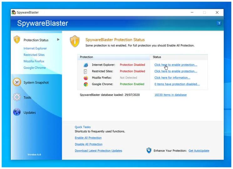 SpywareBlaster : Αποτρέψτε την εγκατάσταση spyware και άλλου δυνητικά ανεπιθύμητου λογισμικού