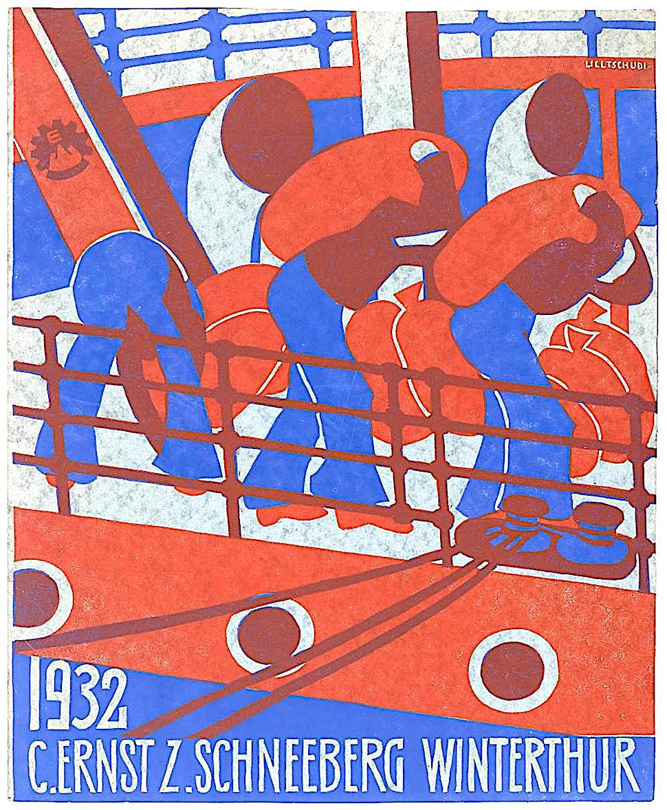 a Lill Tschudi poster in blue red and grey, sailors loading a ship