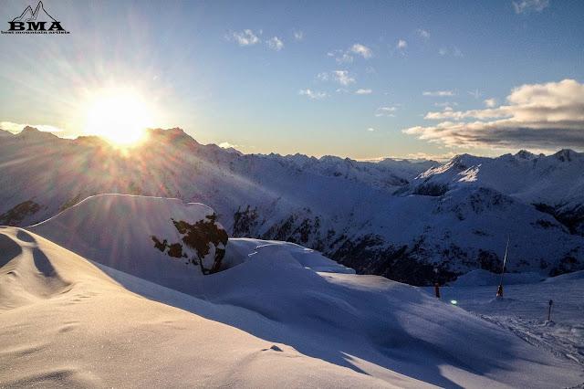 abendstimmung alpenglühen alpine glow pardatschgrat pardorama - ischgl skigebiet