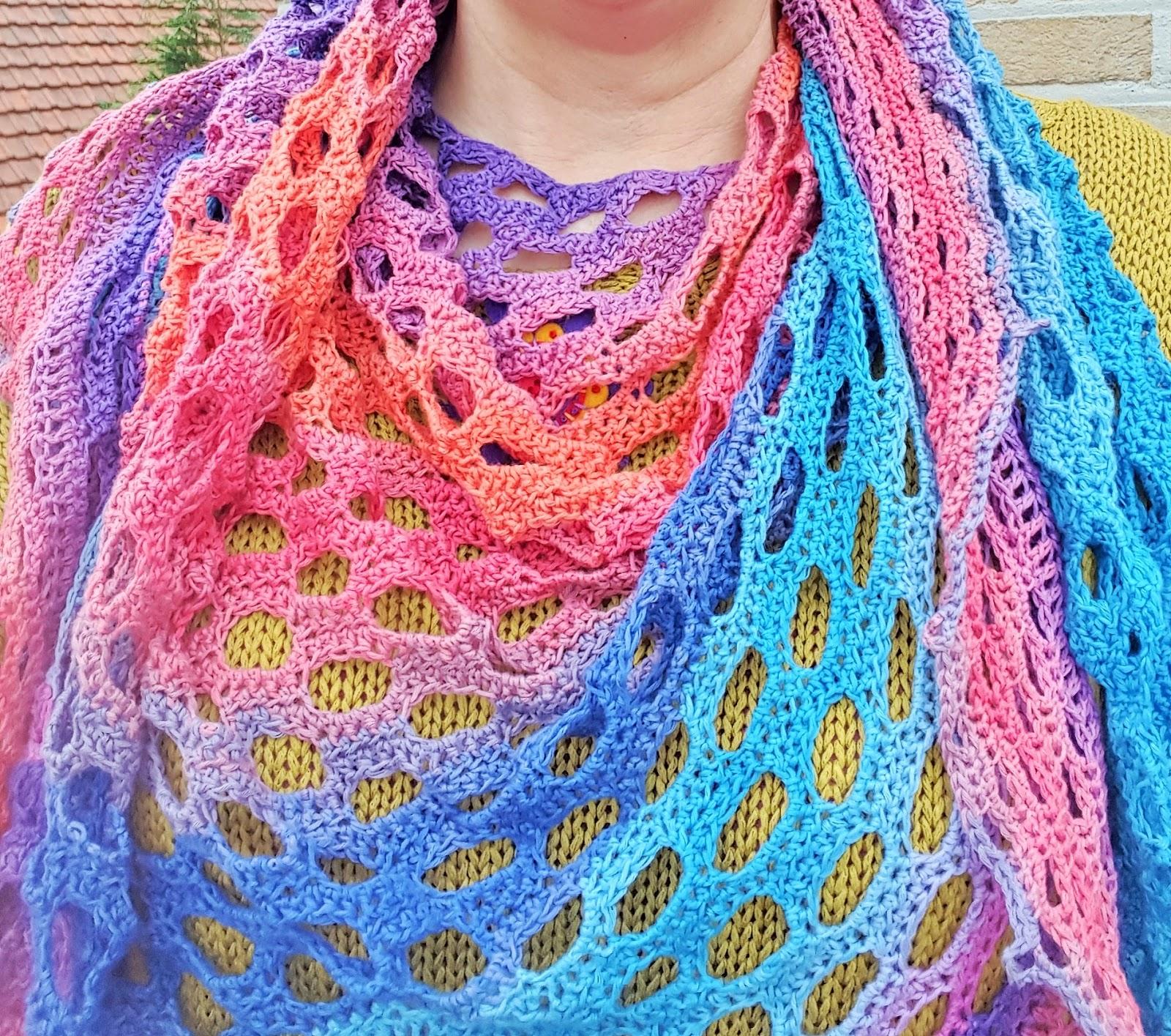 Funkycrochet My Finished Rainbow Bubble Gum Shawl New Crochet Crush Rustic Lace Square Motif