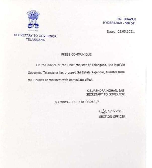 Etela Rajender dropped as Telanaga Minister