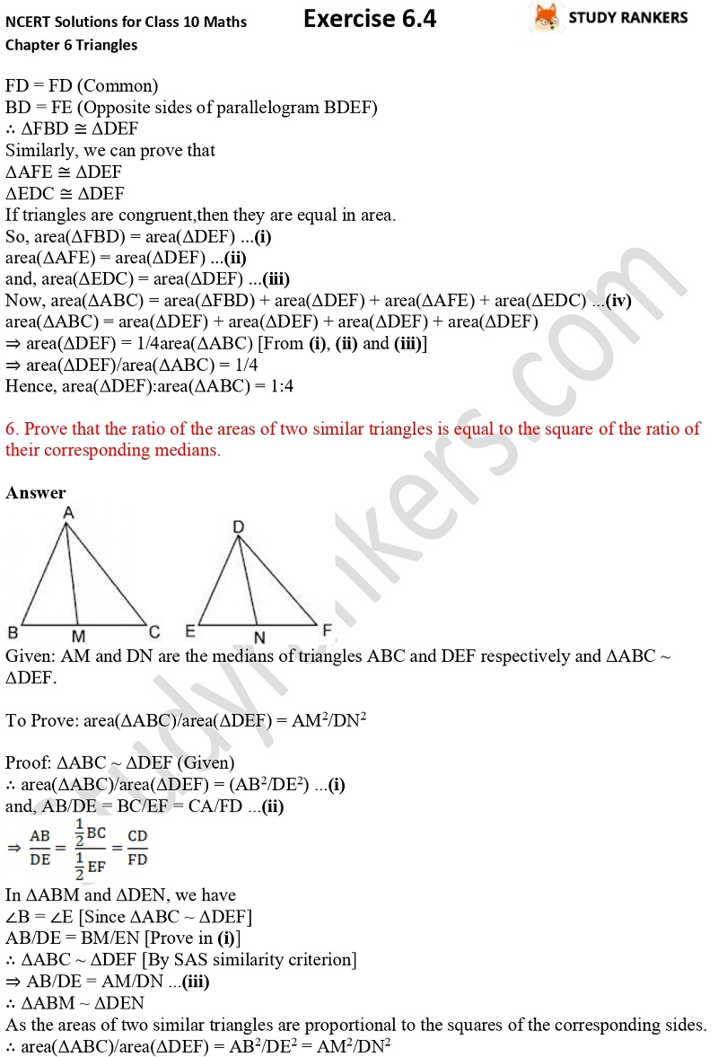 NCERT Solutions for Class 10 Maths Chapter 6 Triangles Exercise 6.4 Part 4