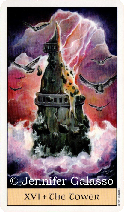 Crystal Visions Tarot, The Tower, Jennifer Galasso