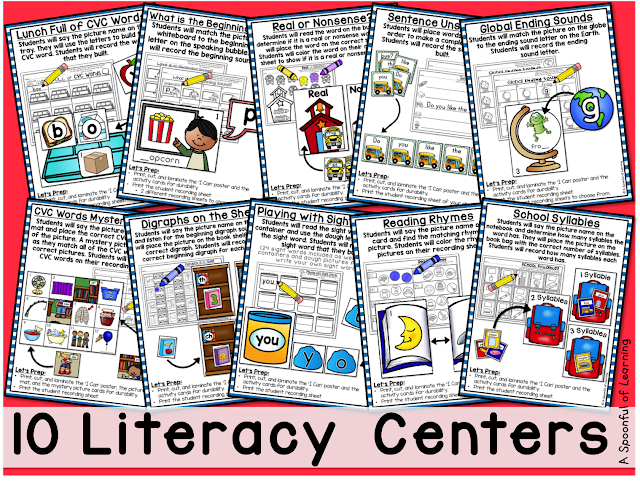 Back to School Centers - 10 Literacy Centers