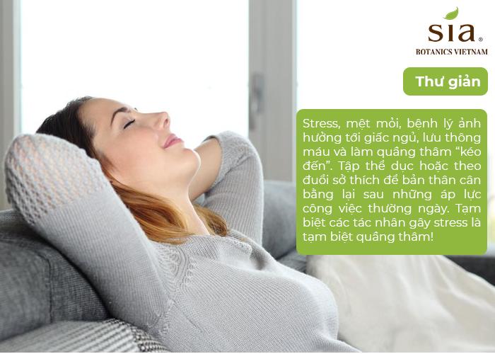 thư giãn đầu óc để hạn chế thâm mắt