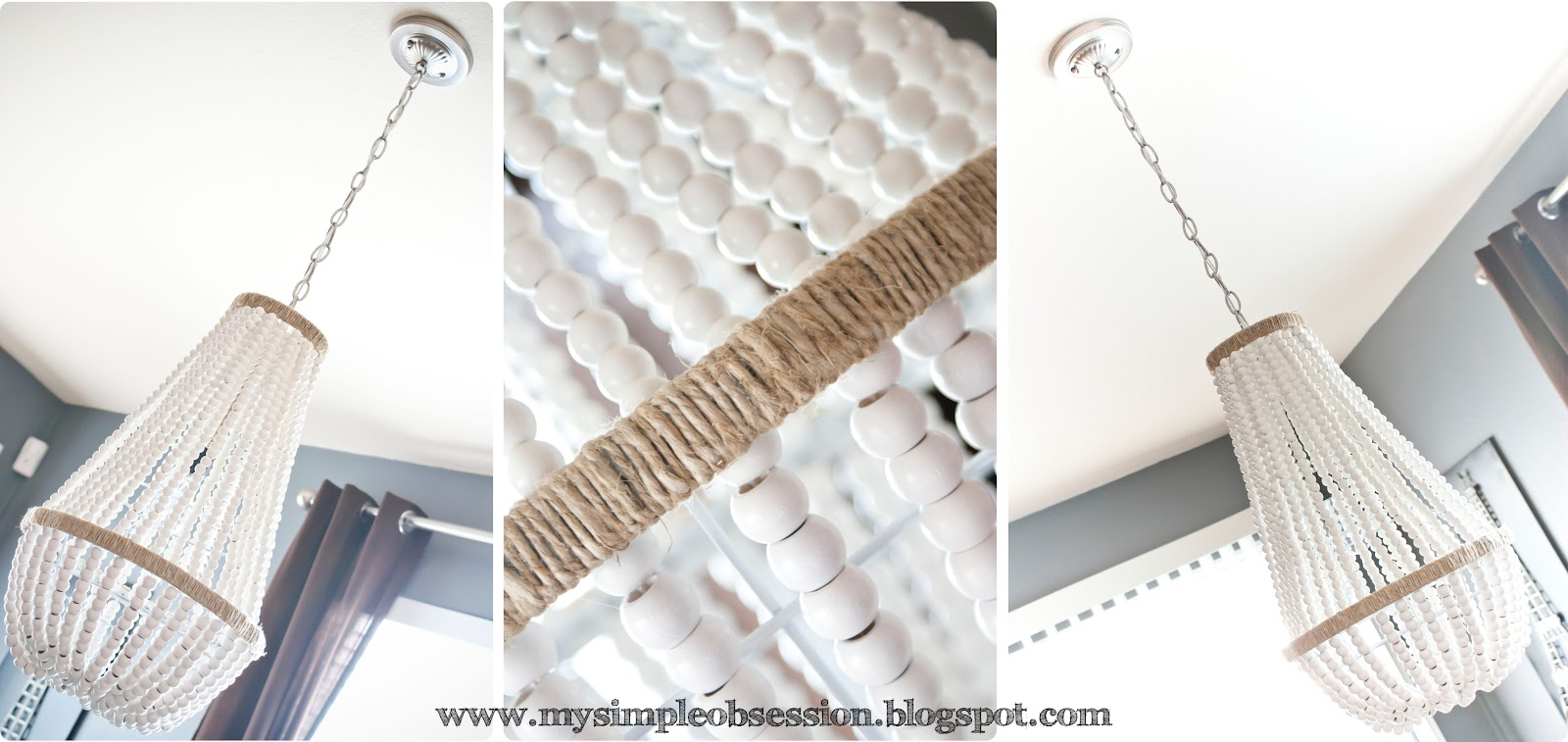 Wood Beaded Light Fixture: My Simple Obsession: Beaded Chandelier Tutorial