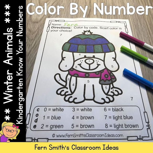 Winter Color By Number Kindergarten Know Your Numbers #FernSmithsClassroomIdeas