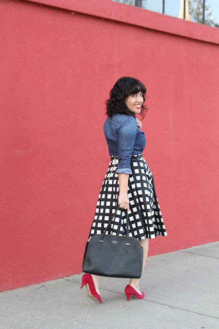 Chambray Button Down and Print Skirt Work Outfit | Will Bake for Shoes