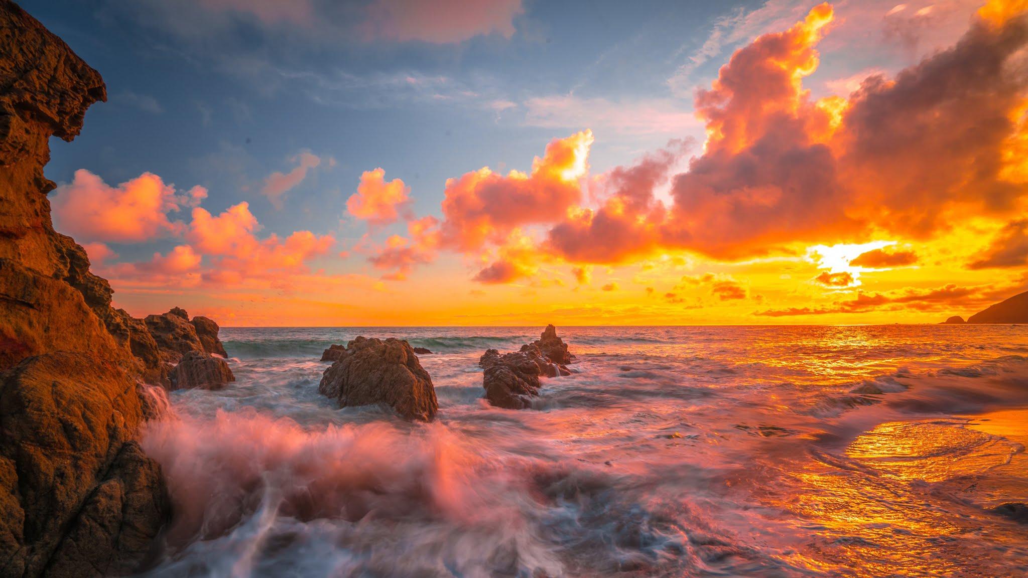 Por Do Sol Dourado No Mar Hd