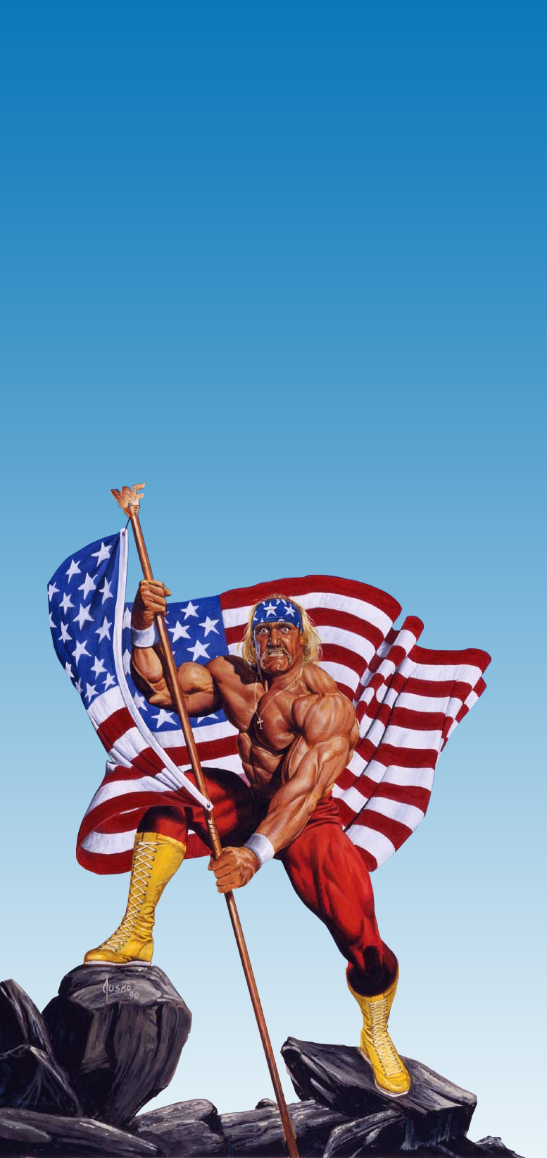 gym bodybuild muscle Hulk Hogan painting that was used on everything from buses to billboards