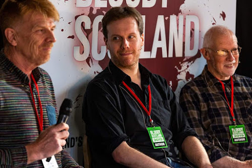 MR Mackenzie (centre) at Bloody Scotland 2019 with fellow authors Gordon Brown & Allan Martin