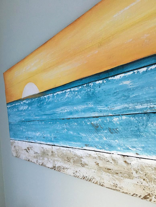 Ocean Beach Painting on Wood Sunset