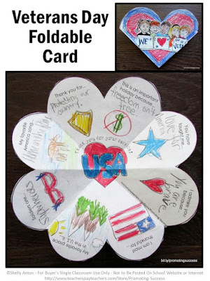 Veterans Day card for kids to make printable classroom