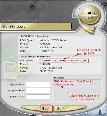 Klik flash untuk update bios dengan winflash utility
