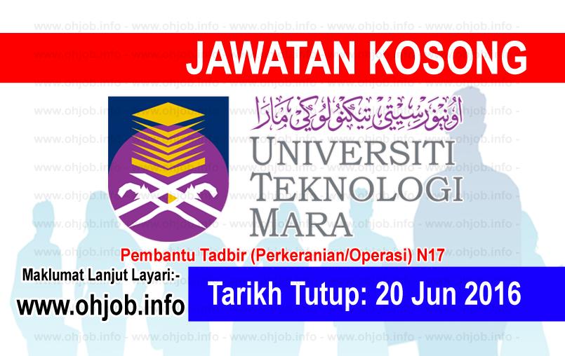 Jawatan Kerja Kosong Universiti Teknologi MARA (UiTM) logo www.ohjob.info jun 2016