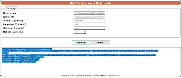 meta tag generator tool