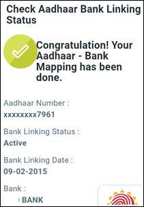 aadhaar bank linking status