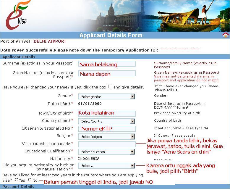 cara membuat visa india