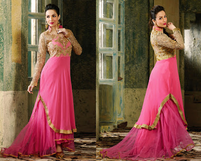 Pink Georgette Net Embroidered Salwar Kameez