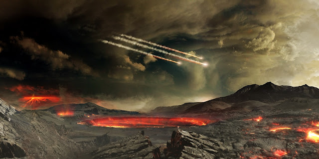 Artist's concept of meteors impacting ancient Earth. Some scientists think such impacts may have delivered water and other molecules useful to emerging life on Earth. Credits: NASA's Goddard Space Flight Center Conceptual Image Lab