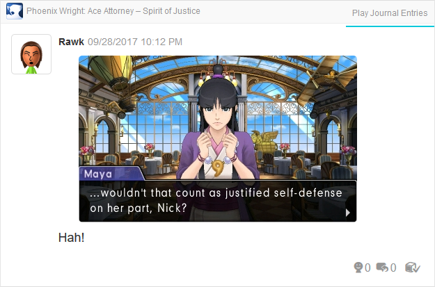 Phoenix Wright Ace Attorney Spirit of Justice justified self-defense Turnabout Time Traveler