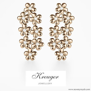 Crown Princess Victoria Kreuger Jewellery rose gold poppy earrings with diamonds