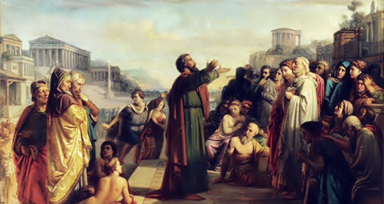 Paulo discursava e levavam a ele enfermos e lenços e lençois a fim de serem curados