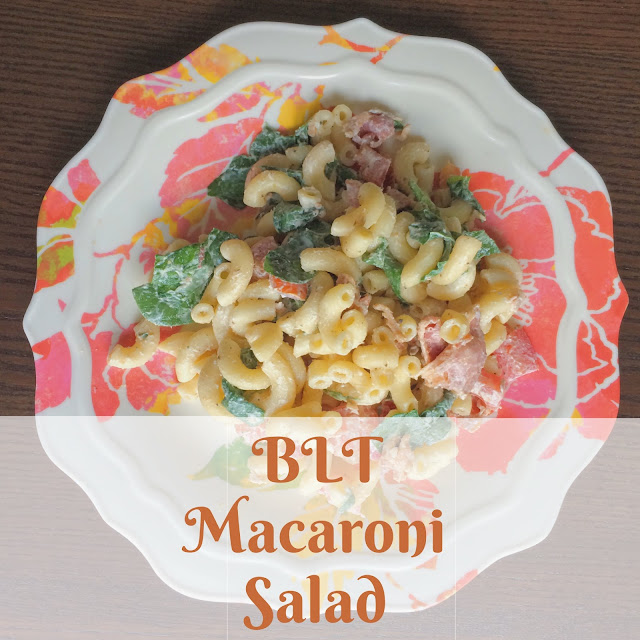 BLT Macaroni Salad - Bacon, spinach, and tomato all mixed into a delicious macaroni salad. Perfect for parties! | My Name is Sara - saradiventi.blogspot.com
