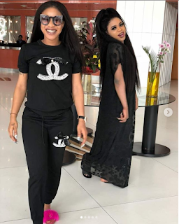 Tonto Dikeh declares her love for Bobrisky as they step out in black (Photos)