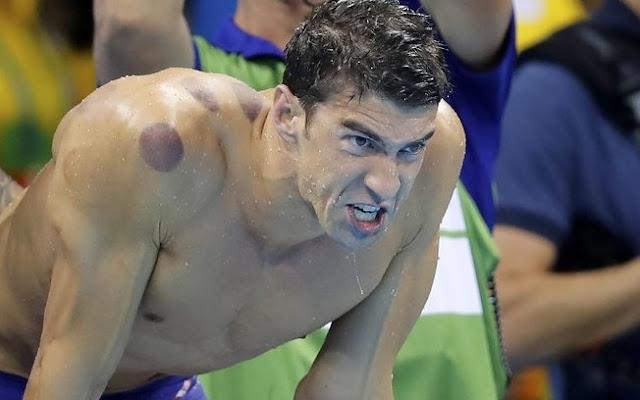 nadador americano marca de ventosa