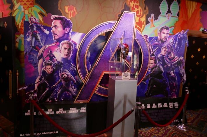 Damaged Iron Man helmet Avengers Endgame exhibit