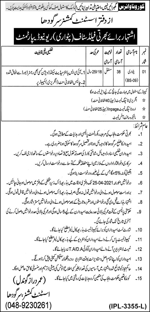 Punjab Revenue Department Sargodha Patwari Jobs 2021