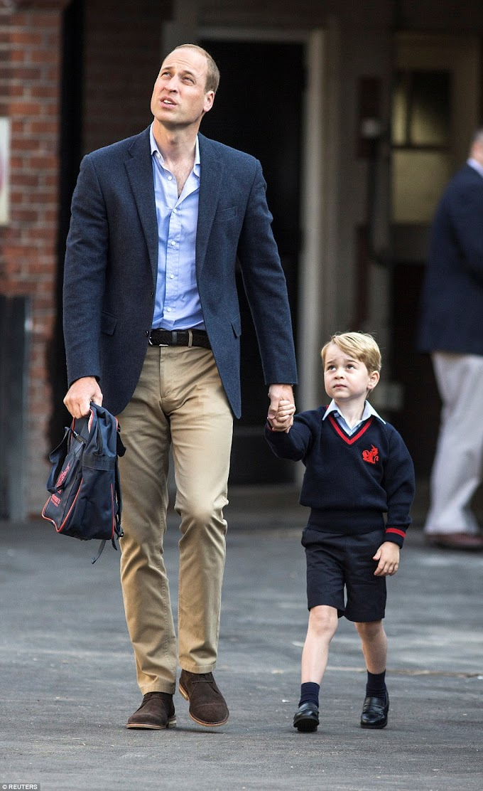 Photos: Prince George arrives for his first day at £20,000-a-year school with his father, Prince William
