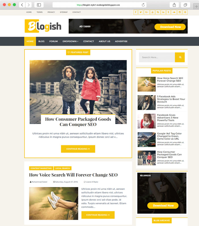 Blogish Responsive Blog Style Blogger Template