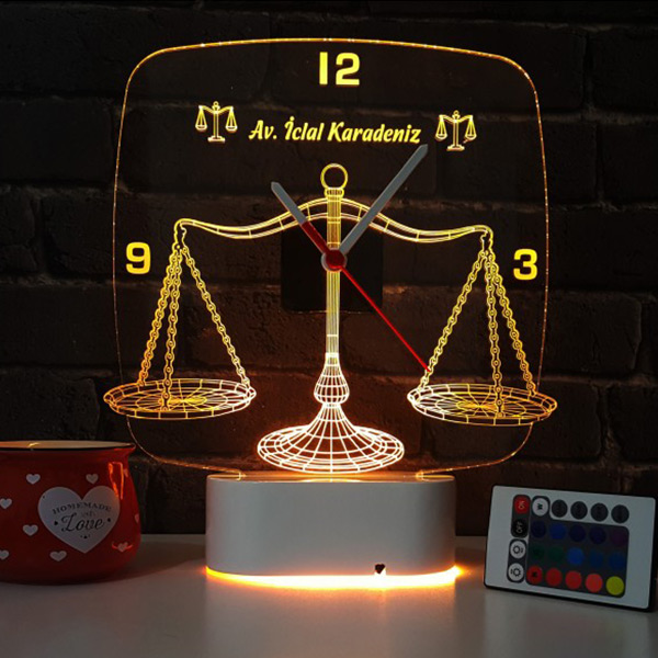 Avukata Özel 3D LED Lamba Saat