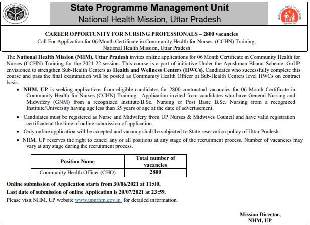 UP NHM GNM CHO Vacancy Details In Hindi   Eligibility   Salary   Exam Pattern   Selection Process