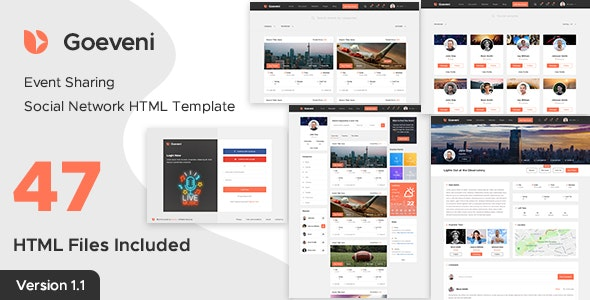Goeveni - Event Sharing Social Network HTML Template
