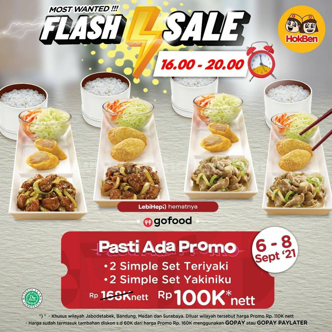 Promo HOKBEN Flash Sale GOFOOD - Beli 4 Paket Hanya Rp. 100RIBU*