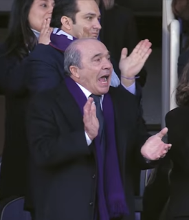 Rocco Commisso cheering on his Fiorentina team from the stands in Florence