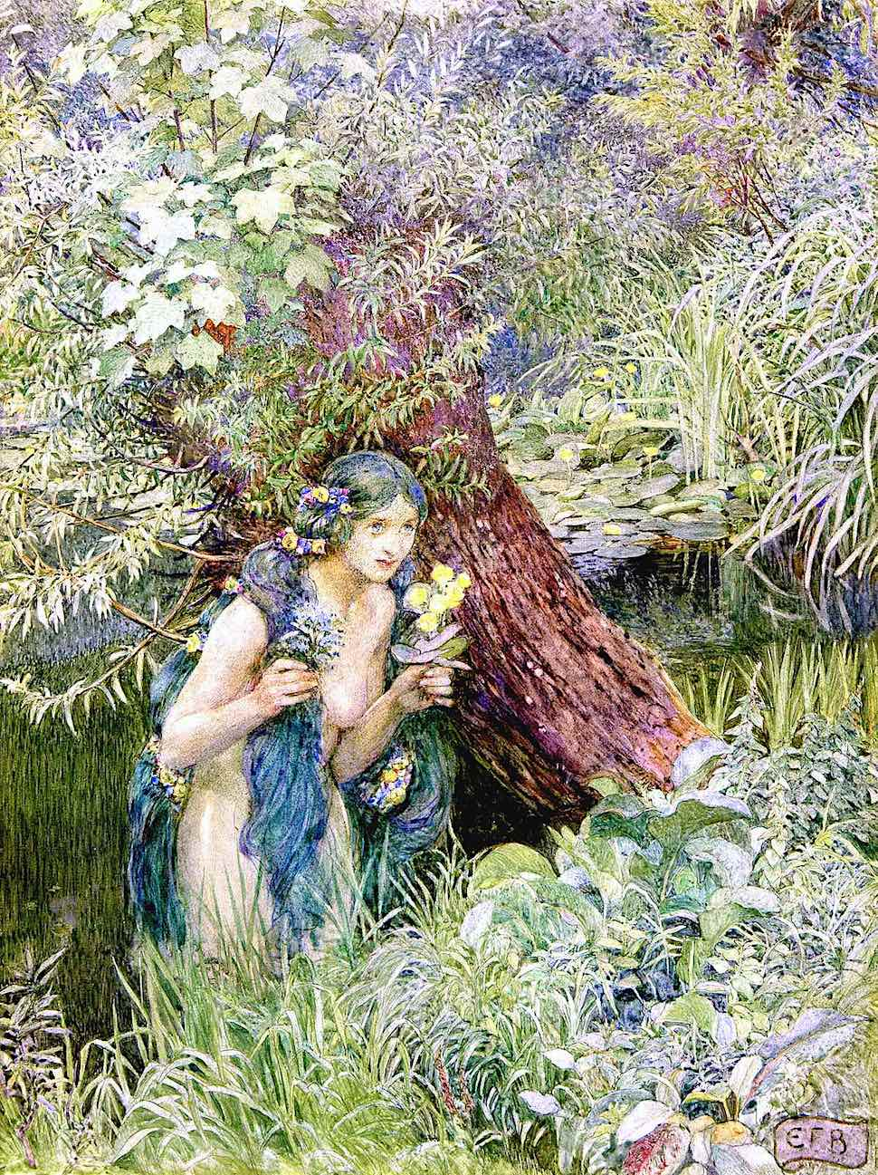 an Eleanor Fortescue Brickdale illustration of a naked woman emerging from marsh wetlands