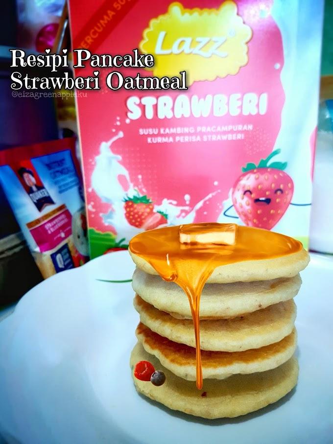 Resipi Pancake Lazz Strawberi Oatmeal.