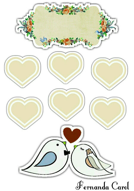 Birds Getting Married with Beige Hearts: Free Printable Cake Toppers
