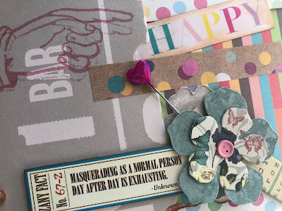 Layered card with text and 3D elements adhered with Best Glue Ever