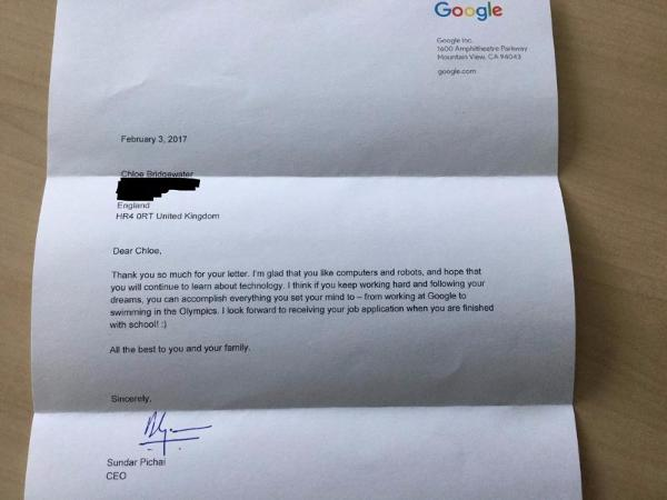 Sundar Pichai's response letter to 7 Years Old Girl Who Applied For Job At Google