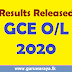GCE O/L 2020 Results Released