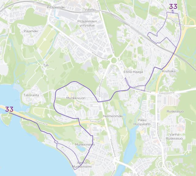 Linjan 33 reitti onHaaga–Munkkivuori–Munkkiniemi–Tarvo.