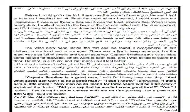 ترجمة قصة جزيرة الكنز treasure island كاملة للصف الاول الثانوى الترم الثانى 2020 ترجمة قصة جزيرة الكنز كاملة اولى ثانوى ترم ثانى 2020