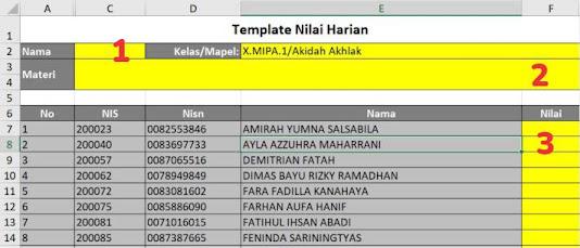 Template NIlai RDM Excel